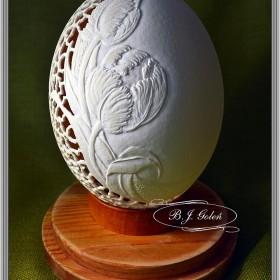 Egg art - Pisanka strusia Tulipany - Bogusława Justyna Goleń