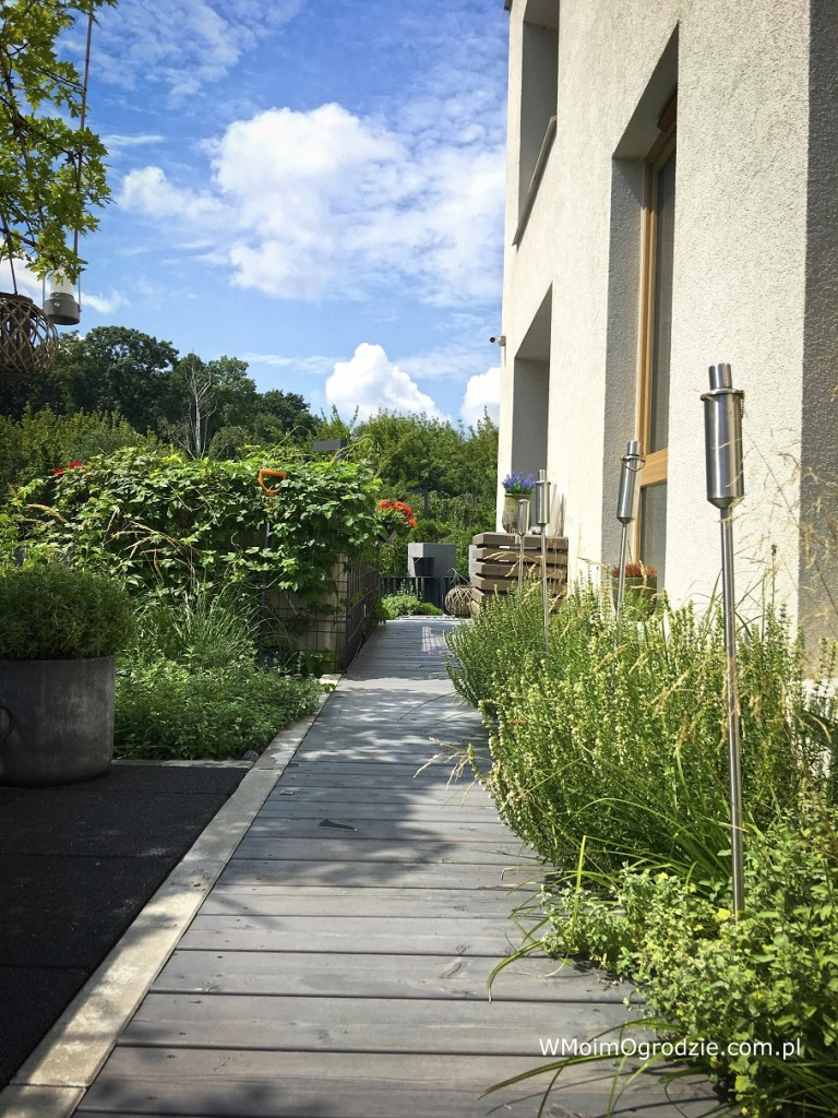 Taras, Mały, miejski ogród na dachu garażu - Drewniany pomost z modrzewia syberyjskiego