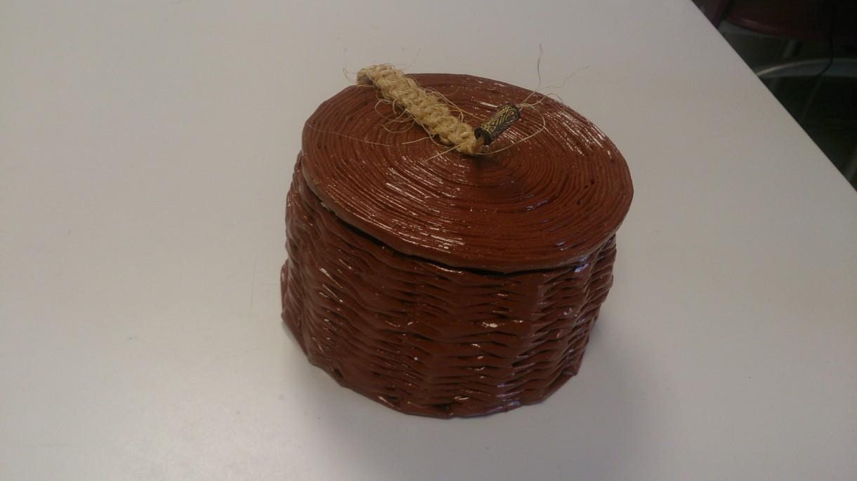Pozostałe, koszyki, przechowywanie - koszyczek z pokrywką ekowiklina, sznur konopny- handmade