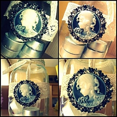 Moje wersje słoików &#x3B;)Pudełeczko na biżuterie nie mieszczącą się na tablicy &#x3B;)Klosik na świece - do akceptacji ?