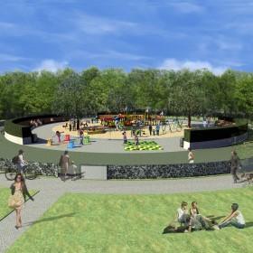 Koncepcja placu zabaw w Parku Praskim w Warszawie