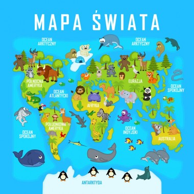 AleObrazy  przedstawia drukowaną mapę świata. Idealna do pokoju dziecka.