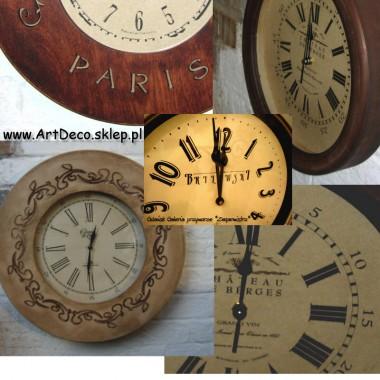 Zegary drewniane ścienne wiszące w stylu kolonalnym - RETRO