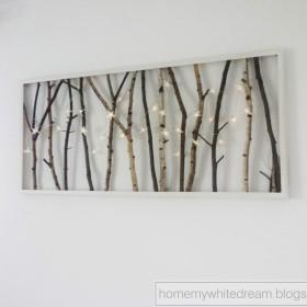 DIY - świecący obraz z gałęzi.