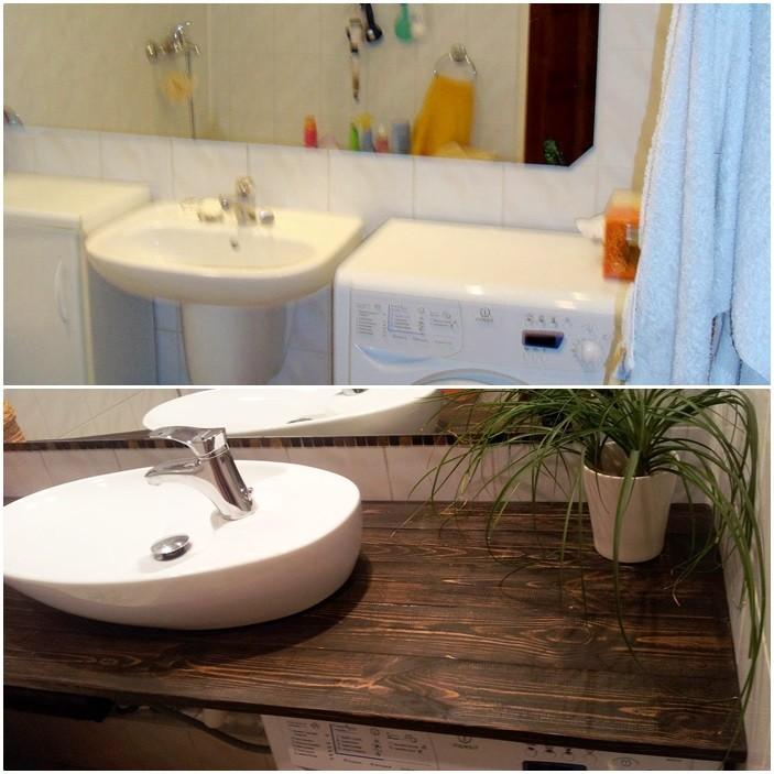 Zdjęcie 1010 W Aranżacji Drewniany Blat W łazience
