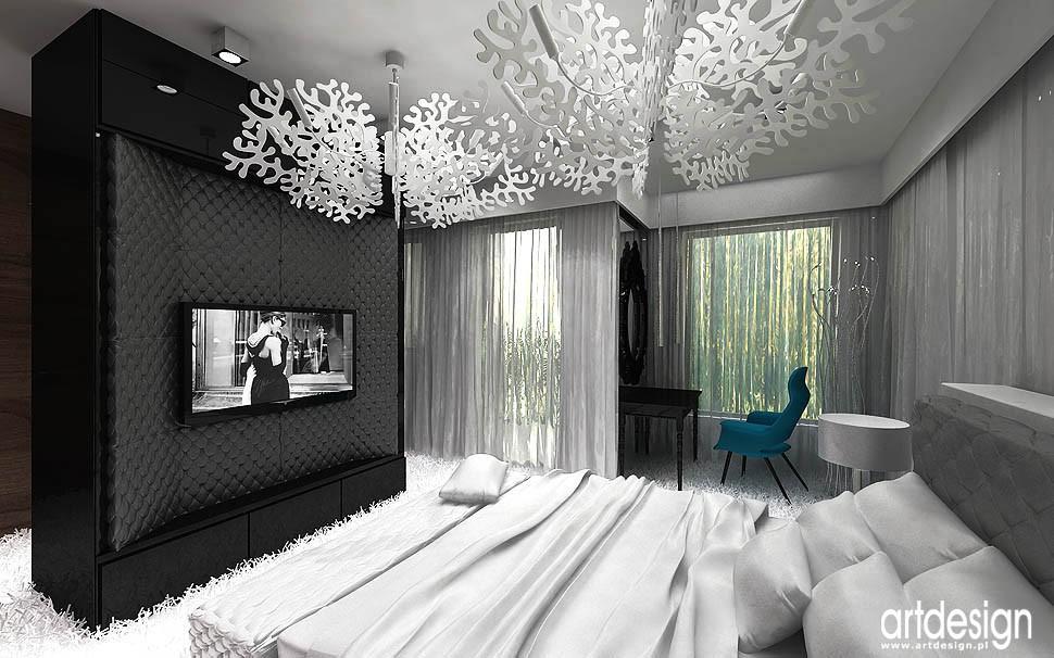 Pozostałe, apartament w Gdańsku - duża sypialnia w apartamencie - aranżacja
