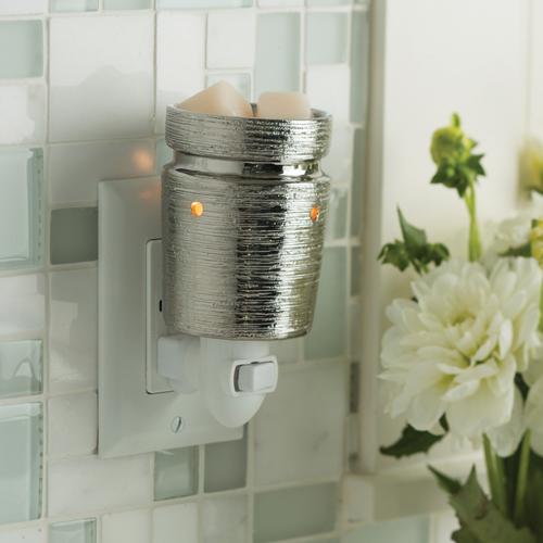 Dekoracje, Kominki elektryczne plug-in (nowość) - Kominek Candle Warmers  BRUSHED CHROME