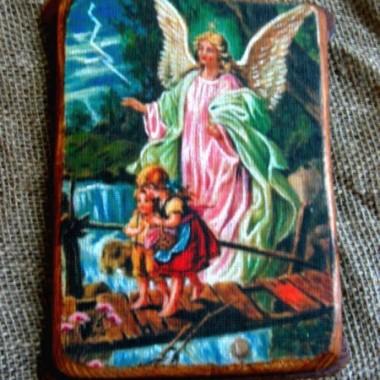 Aniołki na płótnie pisane pamiątka na chrzest lub komunię św