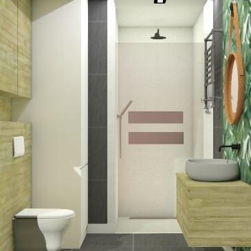 Mała łazienka w bloku zainspirowana piękną tapetą w liście. W tym wydaniu wzór z tapety został nadrukowany na taflę szkła. Prysznic typu walk-in wyłożony białą mozaiką. W białym słupku ukryta pralka. Zapraszam do oglądania i komentowania. :)