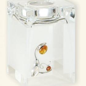Dodatki - świecznik  - Szkło zdobione srebrem i bursztynem