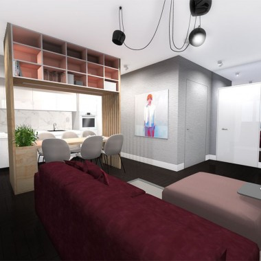 Mieszkanie zostało urządzone w modnym i bardzo odważnym stylu. Nowoczesny projekt z kontrastującą drewnianą podłogą w czarnym kolorze to idealna propozycja dla wszystkich, którzy szukają nowoczesnego domu z nutką ekstrawagancji.