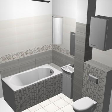 Mała łazienka, projekt 3D, organza