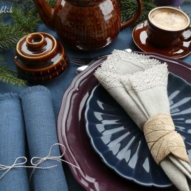 Lniane serwety w świątecznej odsłonie.
