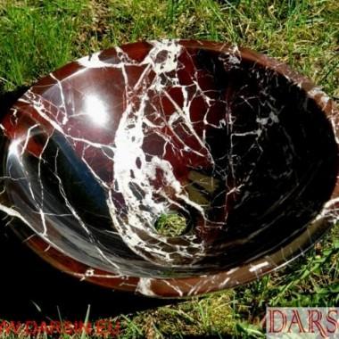 kamienna umywalka z wiśniowego marmuru Rojo Levanto