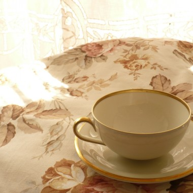 ................nowa porcelanka w kolorze ecru...............i nowy różany obrus..................