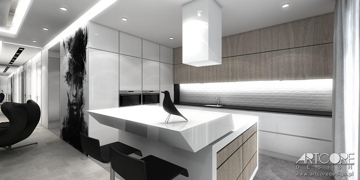 Domy i mieszkania, High Flight - projekt apartamentu w Warszawie - Projektowanie wnętrza kuchni w apartamencie w Warszawie. Architekt wnętrz Kraków ArtCore Design.