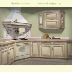 Mój projekt kuchni z frontami drewnianymi patynowanymi.