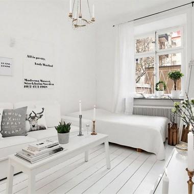 Małe mieszkanie  (20 m2) w stylu skandynawskim