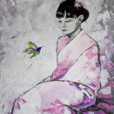 """Obraz """"Tu i teraz"""" wykonany farbami akrylowymi na płót"""