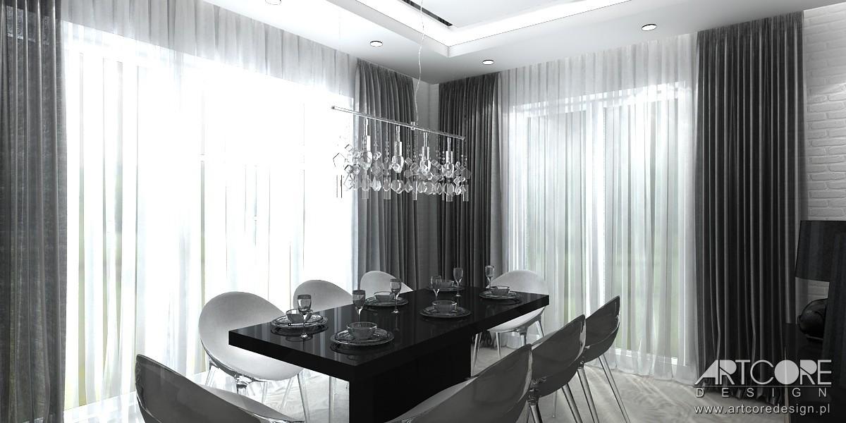Domy i mieszkania, High Flight - projekt apartamentu w Warszawie - Projekt wnętrza nowoczesnego salonu z otwartą kuchnią i jadalnią. Projektowanie wnętrz ArtCore Design.