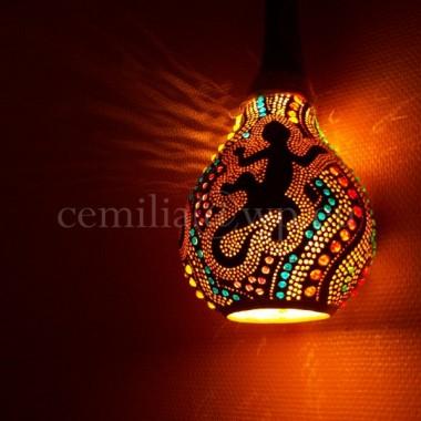 Tykwa, Lampa z Tykwy, Rękodzieło - CZARNA SALAMANDRA