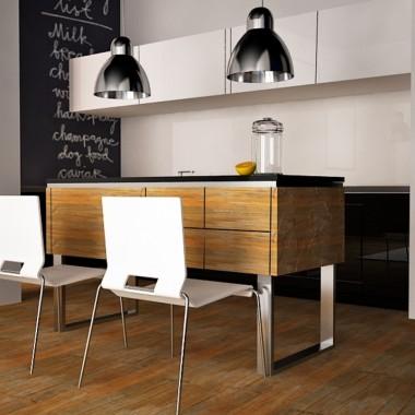 kuchnia, wyspa, jadalnia, lamy, krzesła,drewno, stal