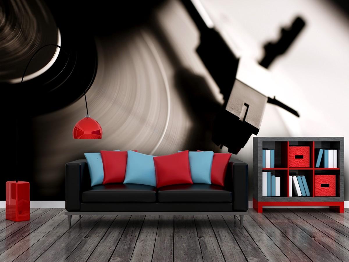 Salon, PIXERS - Salon - Świetny sposób na zaaranżowanie wnętrza klubu lub pokoju melomana - makro fotografia płyty gramofonowej.