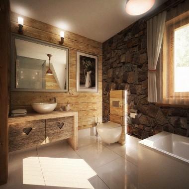 Projekt aranżacji łazienki w stylu zakopiańskim