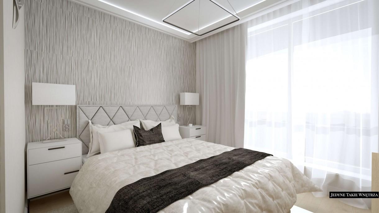 Sypialnia, Biało-czarna elegancka sypialnia - Aranżacja minimalistycznej, a zarazem klasycznej sypialni.