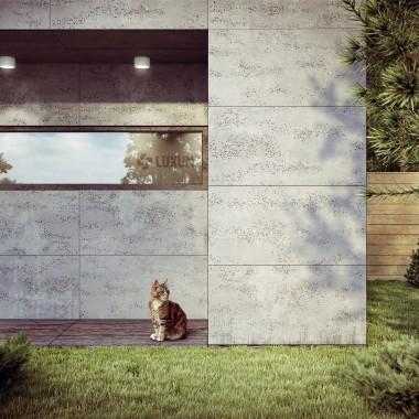 Płyty betonowe - beton architektoniczny Luxum na elewacji.