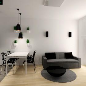 Projekt mieszkania w czerni i bieli