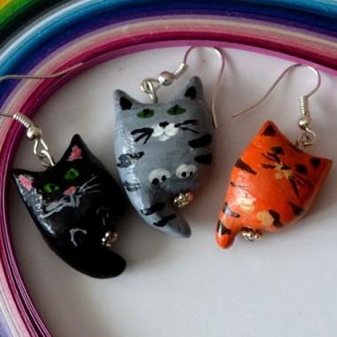 Kociaki- kolczyki i broszka
