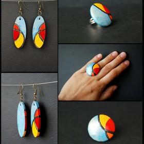 kolczyki z pierścieniami :)_ręcznie malowane