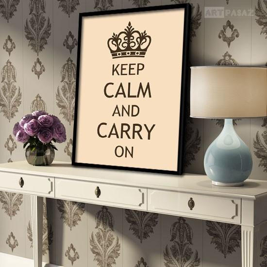 """Pozostałe, dekoracje z literami, cytatami - plakat w ramie """"keep calm and carry on"""""""