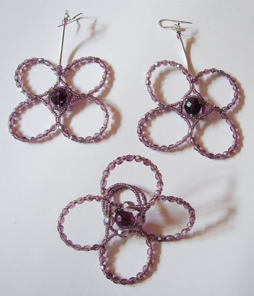 Pozostałe, biżuteria z filcu - mega kolczyki + pierścionek, szkło szlifowane