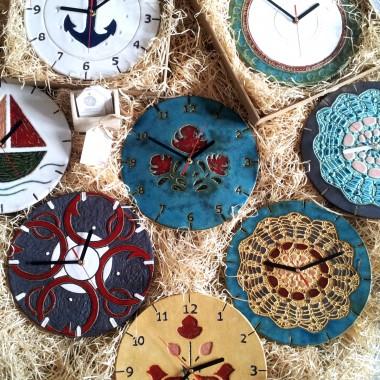 gliniane zegary - moje najnowsze prace
