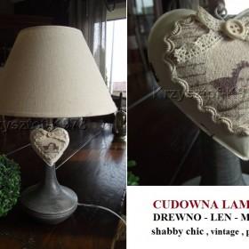 Cudne lampy w stylu vintage , shabby - drewno + len + metal