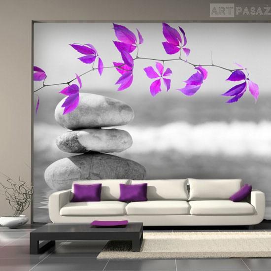 Pozostałe, fototapety kwiaty - Szara fototapeta z fioletowymi listkami