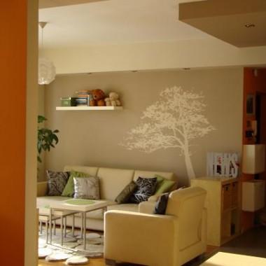 A tak wygląda pokój dzienny z kuchni, to pomarańczowe na lewo to fragment ściany w sypialni