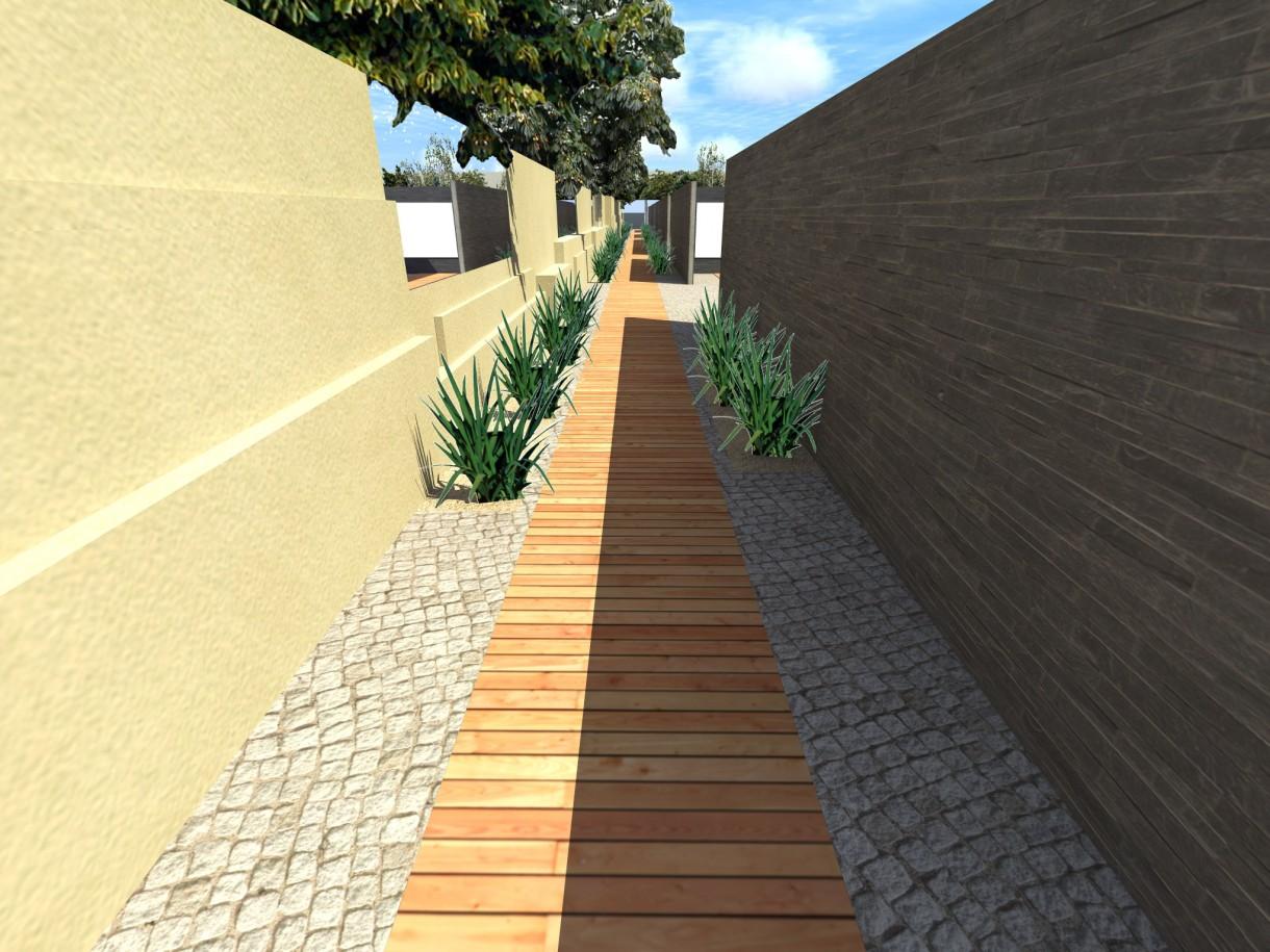 Wizualizacje, Ścieżka dydaktyczna OGRÓD TECHNOLOGICZNY - Korytarz labiryntu- nowoczesne elementy pozwoliły na śmiałe rozwiązania- porowata faktura betonu podkreśla kruchość szkła.