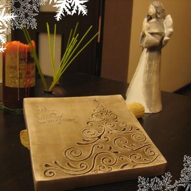 """płaskorzeźba """"Choinka świąteczna"""" i figurka """"Aniołek Eufecja"""" w  wersji brązowej"""