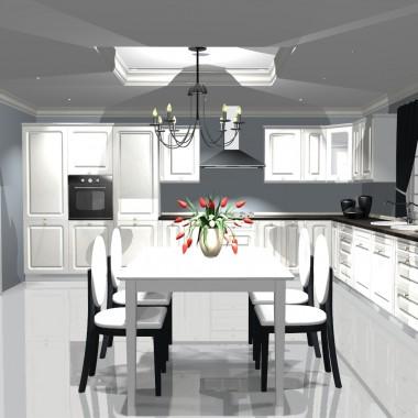 projekt białej kuchni .3 opcje kolorystyczne podłogi