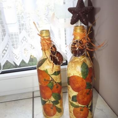 Moja skromna kuchnia.. butelki Decupage..pierwsze kroki:-)
