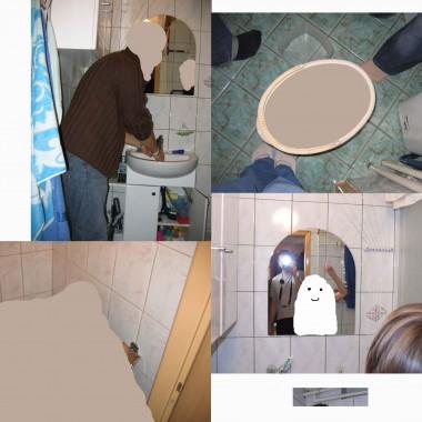 Kolaż przedstawiający łazienkę i ubikację przed remontem. Przepraszam za jakość zdjęć i zaciemnienie twarzy naszych gości. Innych zdjęć nie posiadam, bo zapomniałam zrobić fotki przed samym remontem.