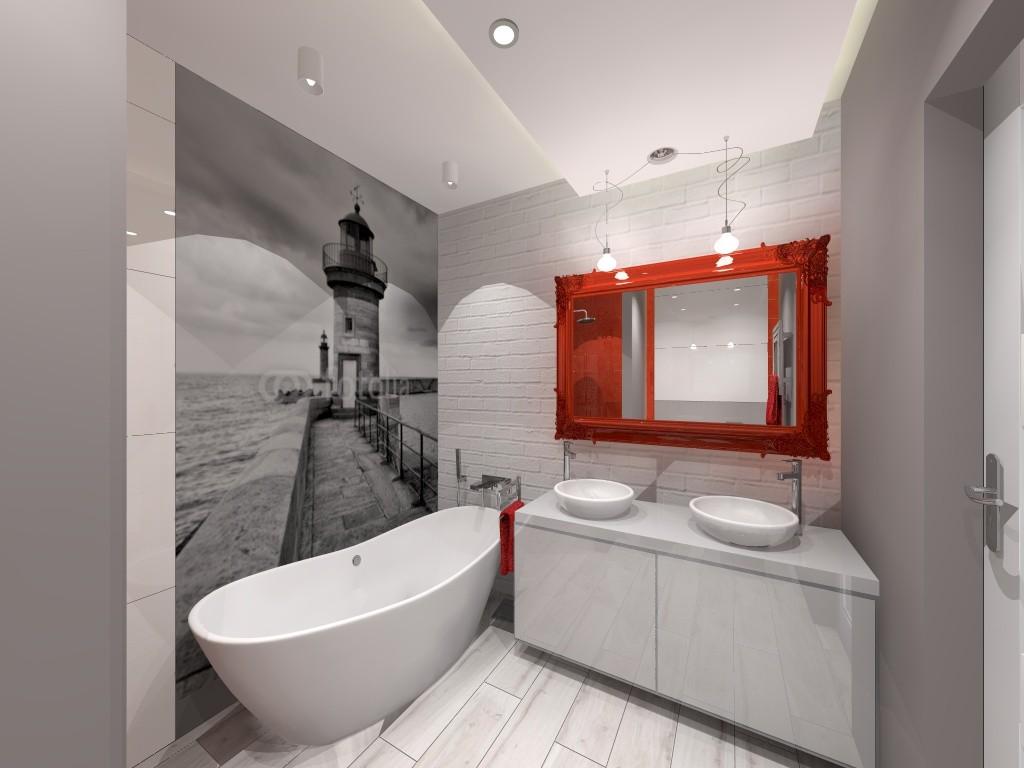 łazienka Szaro Czerwona Deccoriapl
