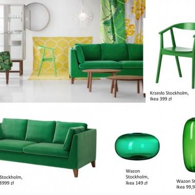 Kolor zielony we wnętrzu to powinny być przede wszystkim rośliny. Swoje miejsce znajdą też drobne akcesoria, które ożywią mieszkanie i uczynią je bardziej energetycznym. Odważni mogą zaryzykować i postawić na duże elementy wystroju w zieleni, np. sofa. Przedstawiam Wam przykładowe zdjęcie zastosowania tego wiosennego koloru we wnętrzu.