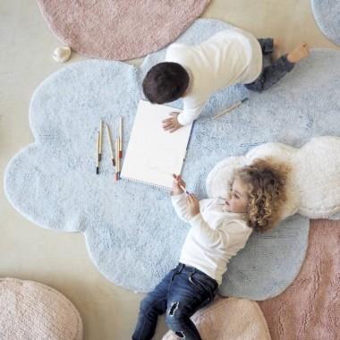 Dywan w kształcie Chmurki Puffy Dream Blue w komplecie z podusią