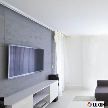 Co na ścianę w salonie?Płyty betonowe z betonu architektonicznego Luxum, bez szkodliwych sztucznych włókien.Płyty przeznaczone do szybkiego montażu na klej.