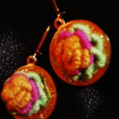 kolczyki haftowane własnej produkcji:)