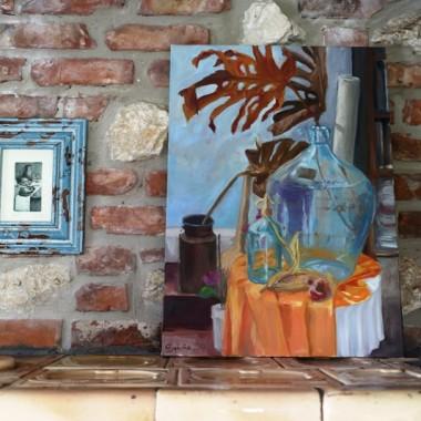 na piecu jest dobre miejsce do suszenia obrazów &#x3B;-P Duża martwa natura mojego autorstwa, mała akwaforta kupiona na pchlim targu.